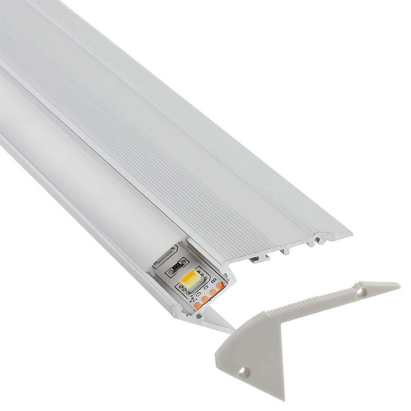 KIT - Perfil aluminio STAIR para tiras LED, 1 metro